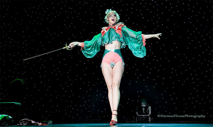 The Lady Josephine competing for Best Debut at the Burlesque Hall of Fame Weekend 2014 Tournament of Tease.  ©Chris Harman/Harman House Photography
