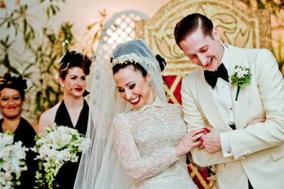 Angie Pontani and husband Brian Newman at their wedding. ©Kristin Chalmers Photography  (Interview: Angie Pontani – 21st Century Burlesque Magazine)