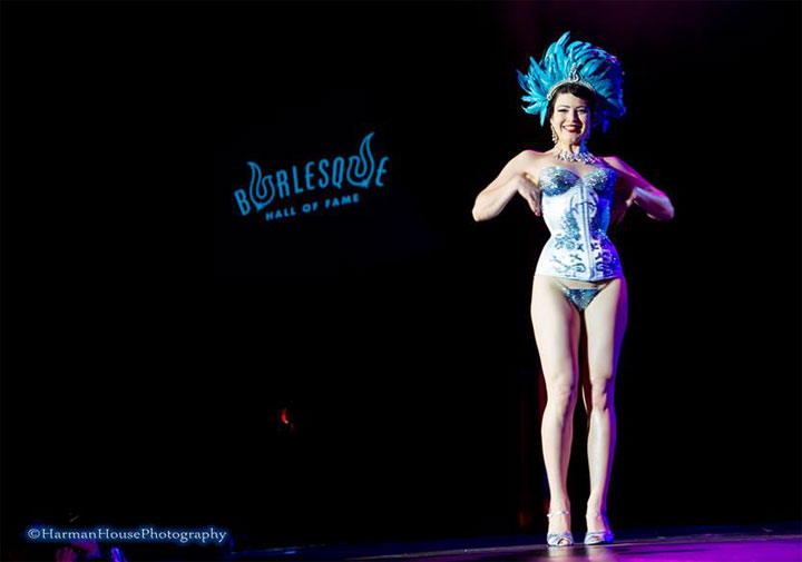 Bonnie Fox competing for Best Debut at the Burlesque Hall of Fame Weekend 2014 Tournament of Tease. ©Chris Harman/Harman House Photography