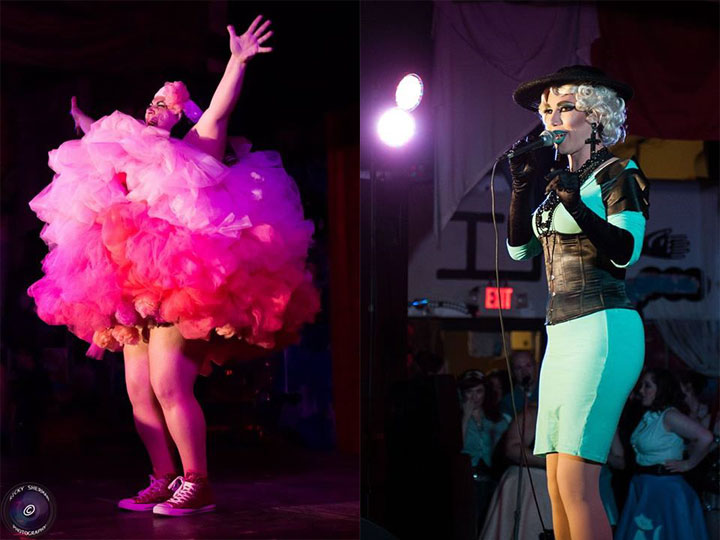 Femme Brulee (left)  ©Ricky Sherman, and Siren (right)  ©JMI Photo, at the Show Me Burlesque Festival 2014.