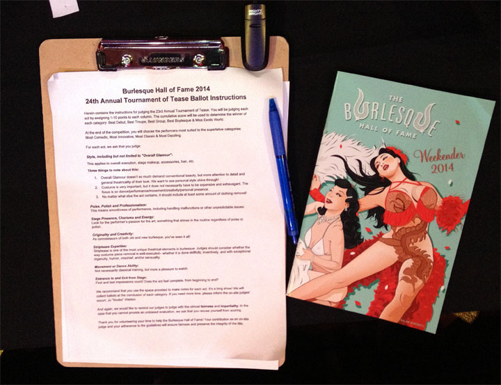 A judging sheet and programme at the 2014 Burlesque Hall of Fame Weekend Exotic World pageant.  ©Jo Weldon