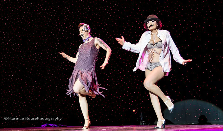 Lola Frost and Rita Star competing for Best Group at the Burlesque Hall of Fame Weekend Tournament of Tease 2014. ©Chris Harman/Harman House Photography