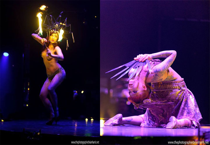 Missy Fatale (left) and Leah Debrincat (right) in Cirque du Cabaret.  ©Brian Harris (Review: Cirque du Cabaret - London Wonderground 2014)
