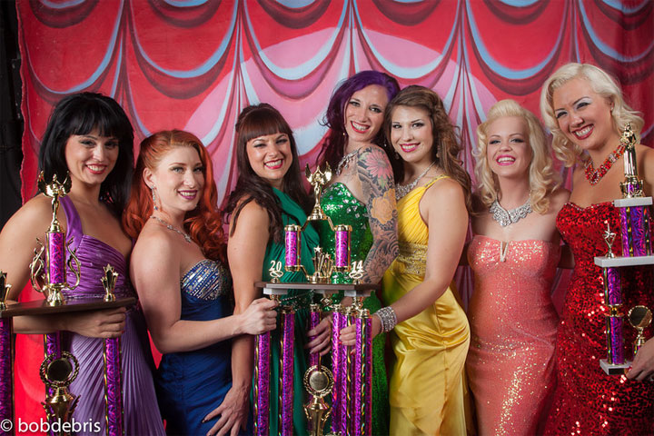 Ginger Valentine, Missy Lisa and the Ruby Revue with their trophies at the Burlesque Hall of Fame Weekend 2014. ©Bob Debris