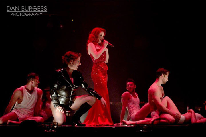 Polly Rae (centre) and cast in Between the Sheets at London Wonderground 2014.   ©Dan Burgess