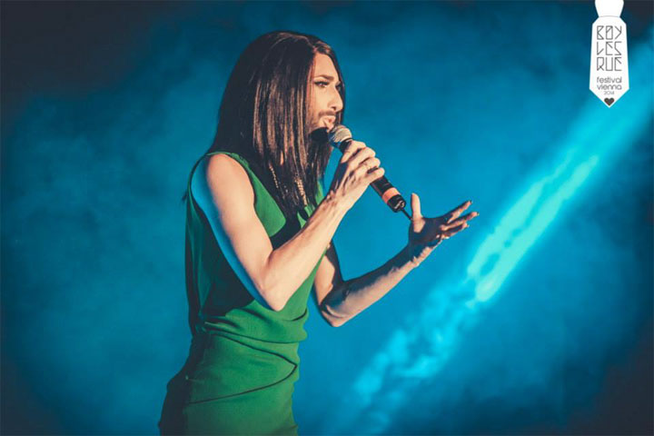 Conchita Wurst at the Vienna Boylesque Festival 2014. ©Philipp Lipiarski
