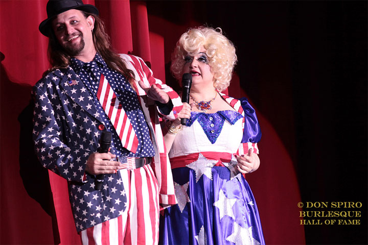 Jonny Porkpie and Blanche DeBris hosting the Movers Shakers and Innovators showcase at the Burlesque Hall of Fame Weekend 2014.  ©Don Spiro