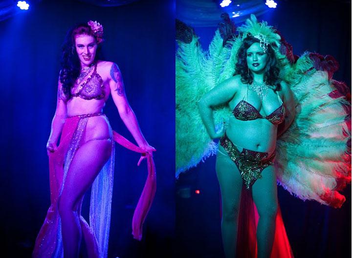 Holly Dai (left) and Jacquline Chanton (right)  at the Oregon Burlesque Festival. ©Sophia Flash
