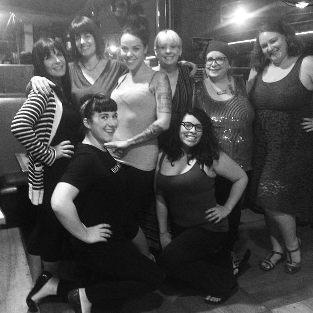 Lydia DeCarllo with her students at the Oregon Burlesque Festival. ©Lydia DeCarllo