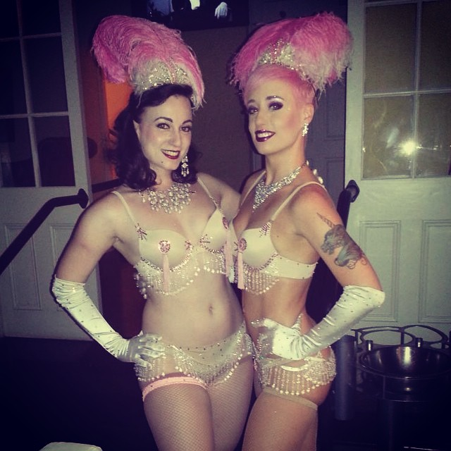 Michelle L'amour and Bella Blue.  (Michelle L'amour and Bella Blue spread The Joy of Tease in New Orleans)
