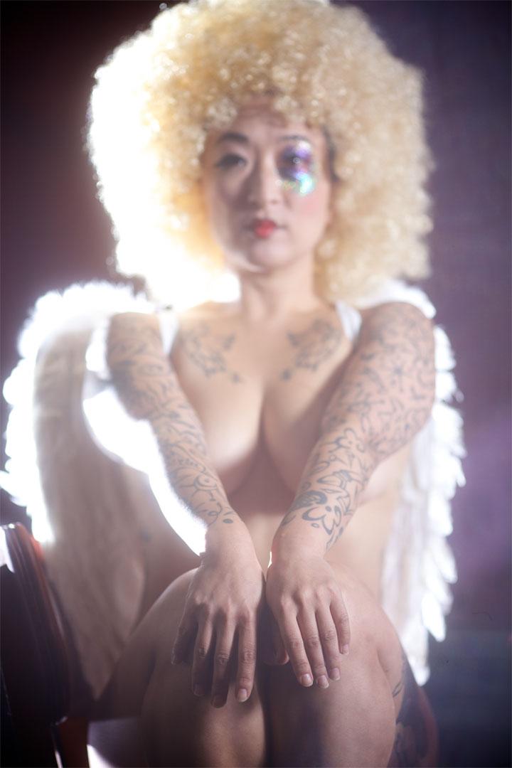 London burlesque performer Fancy Chance in the All Nude Cabaret Charity Calendar.  ©Sin Bozkurt