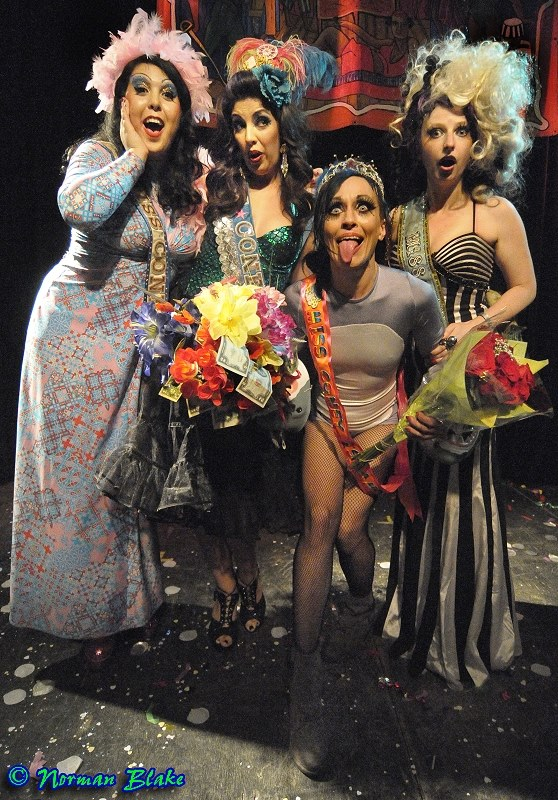 Miss Coney Island 2015 Betty Bloomers (in the shark leotard) with Miss Coney Island 2013 Miss Cherry Delight (left), Miss Coney Island 2014 Rita MenWeep (far left), and Miss Coney Island 2011 Lefty Lucy (right). ©Norman Blake