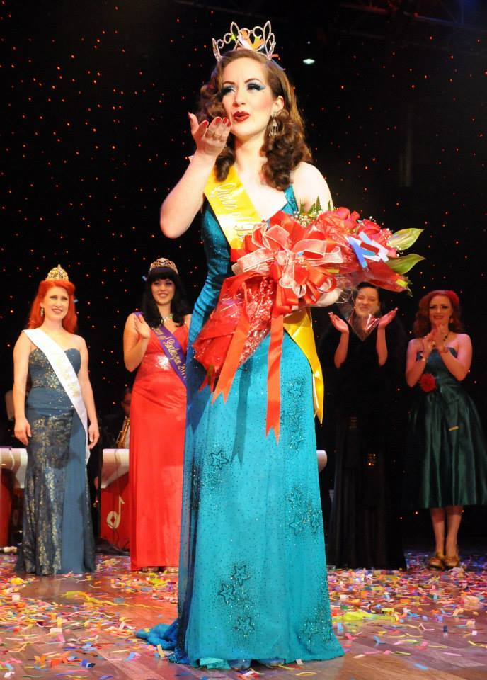 Medianoche winning the New Orleans Burlesque Festival 'Queen of Burlesque' competition in 2013.  ©Ivan Micheeff