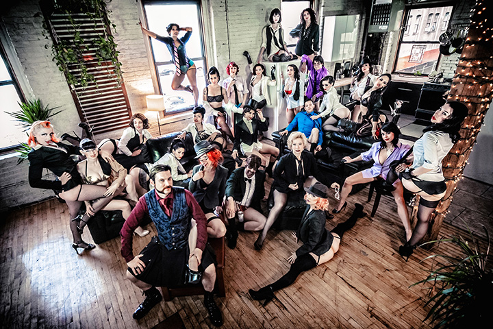 Wasabassco in 2014: The most recent troupe family photo.  (Interview: Doc Wasabassco – 10 Years in Burlesque)