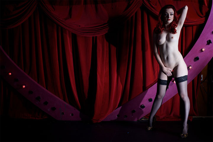 London burlesque performer Polly Rae in the All Nude Cabaret Charity Calendar.  ©Sin Bozkurt