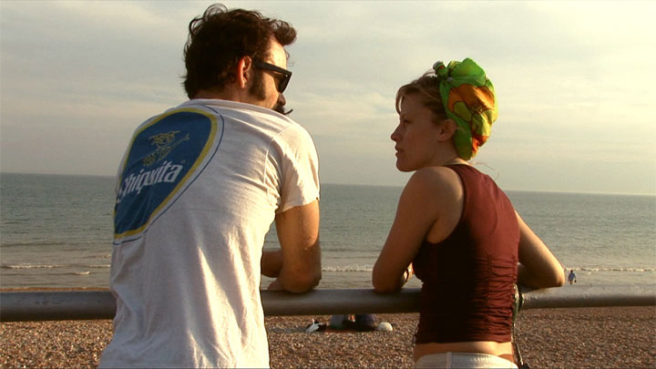 Trixie and Monkey at Brighton beach, UK in 2008, a still from documentary Us, Naked: Trixie and Monkey.