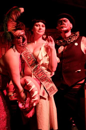 Darlinda Just Darlinda (left) and Scary Ben (right) with Vagina Dentata pageant winner Holly Ween (centre).  Image courtesy of Darlinda Just Darlinda.