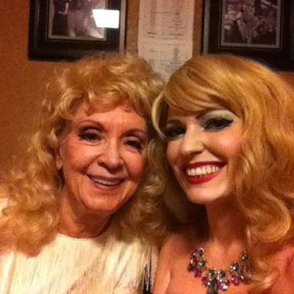 Goldie Candela with her burlesque legend Dee Milo at the Burlesque Hall of Fame Weekend 2014.