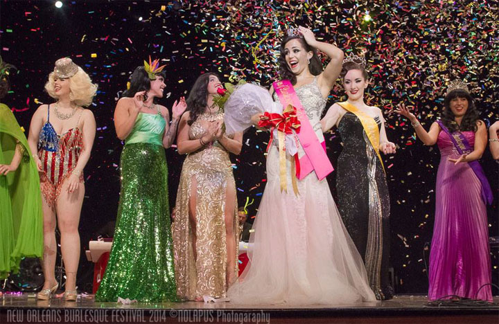 Elle Dorado wins the 'Queen of Burlesque' competition at the New Orleans Burlesque Festival 2014.  ©NOLAPUS.com