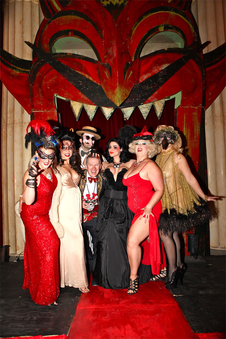 Left to right: Darlinda Just Darlinda, Russell Bruner, Neil Kendall, Roxi D'Lite, Dirty Martini and Julie Atlas Muz at Theatre Bizarre 2014.  ©Neil Kendall