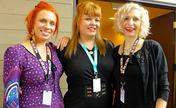 Ophelia Flame, me (Bettie Blackheart) and Minnie Tonka just after receiving our passes and schedules.  (Bettie Blackheart's BurlyCon 2014 Diary)