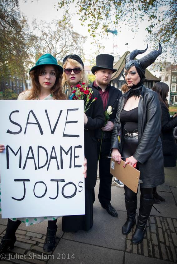 Anna Lou Larkin, Good Ness Gracious, James Lee and Katy Jones prepare to set out on the procession to Madame Jojo's. ©Juliet Shalam