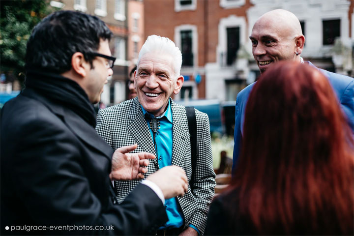 Editor of This Is Cabaret Franco Milazzo and Editor of 21st Century Burlesque Magazine Holli-Mae Johnson speaking to cabaret superfans Simon Reeves and Bryanne McIntosh-Melville before the procession to Madame Jojo's. ©Paul Grace (www.paulgrace-eventphotos.co.uk)