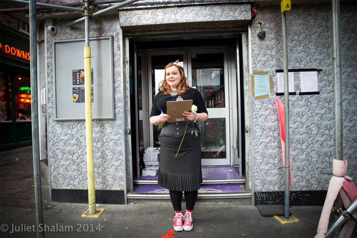 Much loved Cabaret Roulette producer Vivacity Bliss collecting signatures to save her show's venue, Madame Jojos. ©Juliet Shalam