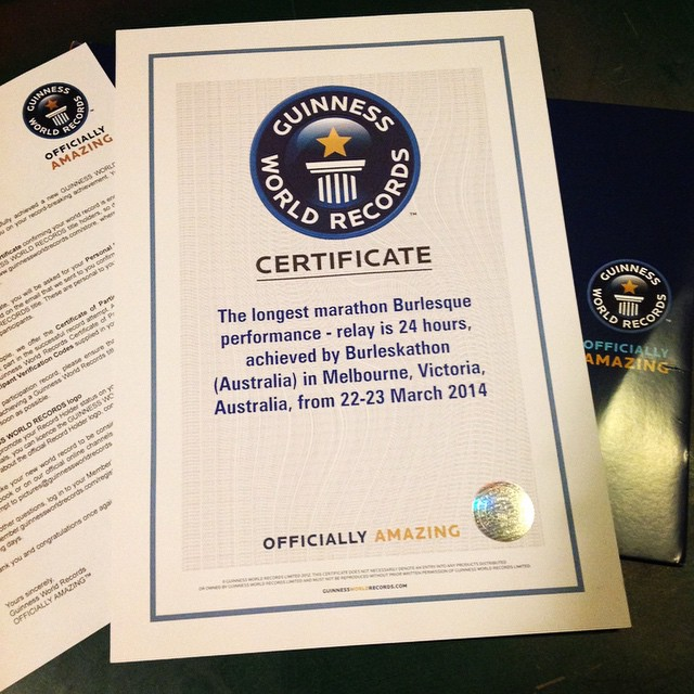 The Guinness World Record Certificate for Burleskathon: 24 Hours of Tease
