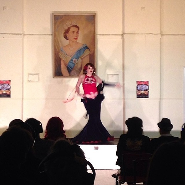 Vesper White performing at the Burleskathon World Record Attempt in March 2014.