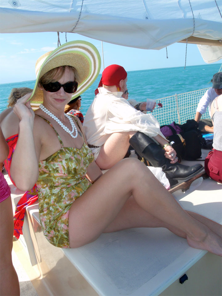Kay Sera on the Key West Burlesque Festival party boat 1 month sober.