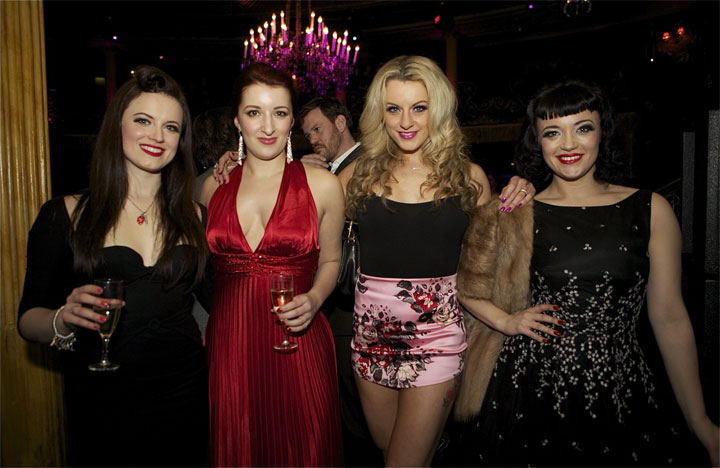 Folly Mixtures Ella Boo, Liberty Sweet and Ooh La Lou with Bettsie Bon Bon at the London Cabaret Awards 2015.   ©Lisa Thomson