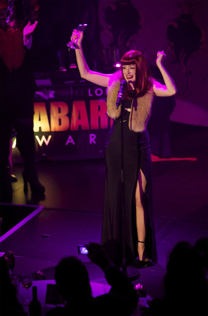 Miss Polly Rae wins the Best Burlesque award at the London Cabaret Awards 2015.   ©Lisa Thomson
