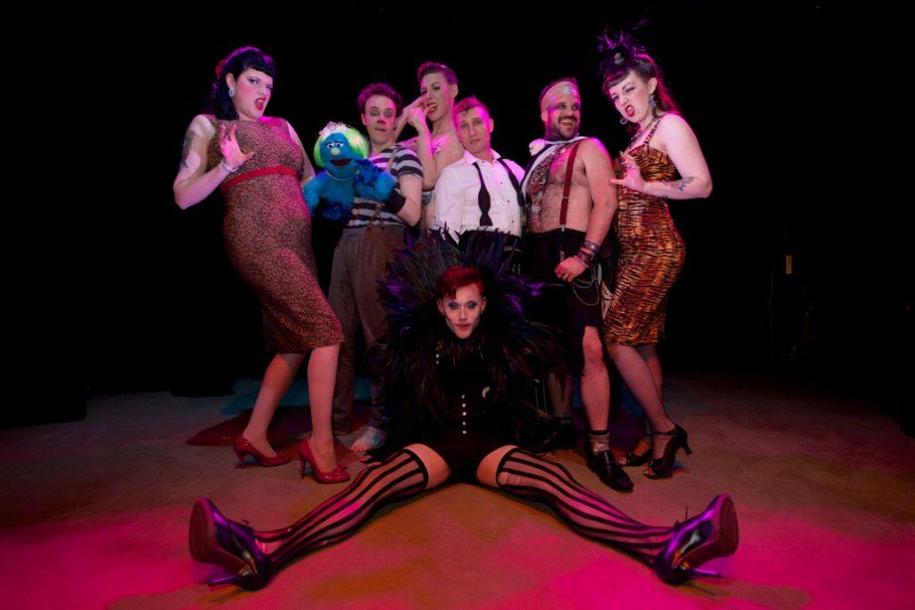 The cast of the All Male Burlesque Revue at the Hebden Bridge Burlesque Festival 2014.  ©Ravey Davey