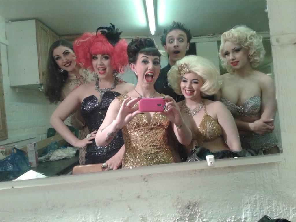 The cast of the Burlesque Gala at the Hebden Bridge Burlesque Festival 2014.