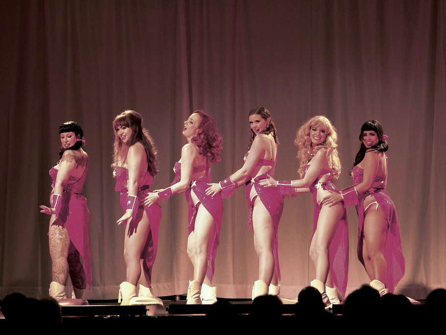The Jigglewatts Burlesque Revue at the Texas Burlesque Festival 2014 (L-R: Ruby Lamb, Layna d'Luna, Ruby Joule, Something Blue, Goldie Candela, Coco Lectric) Photo by Steve DeMent