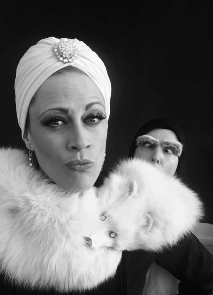 Trixie Little in a tribute selfie to Madeline Kahn in Young Frankenstein with Boo Boo Darlin as Marty Feldman's Igor.