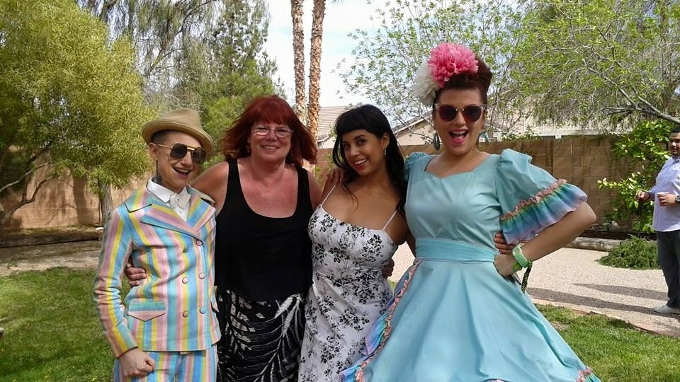 Kitten LaRue and Lou Henry Hoover with Coco Lectric and burlesque legend Tiffany Carter.   ©Kitten 'N' Lou