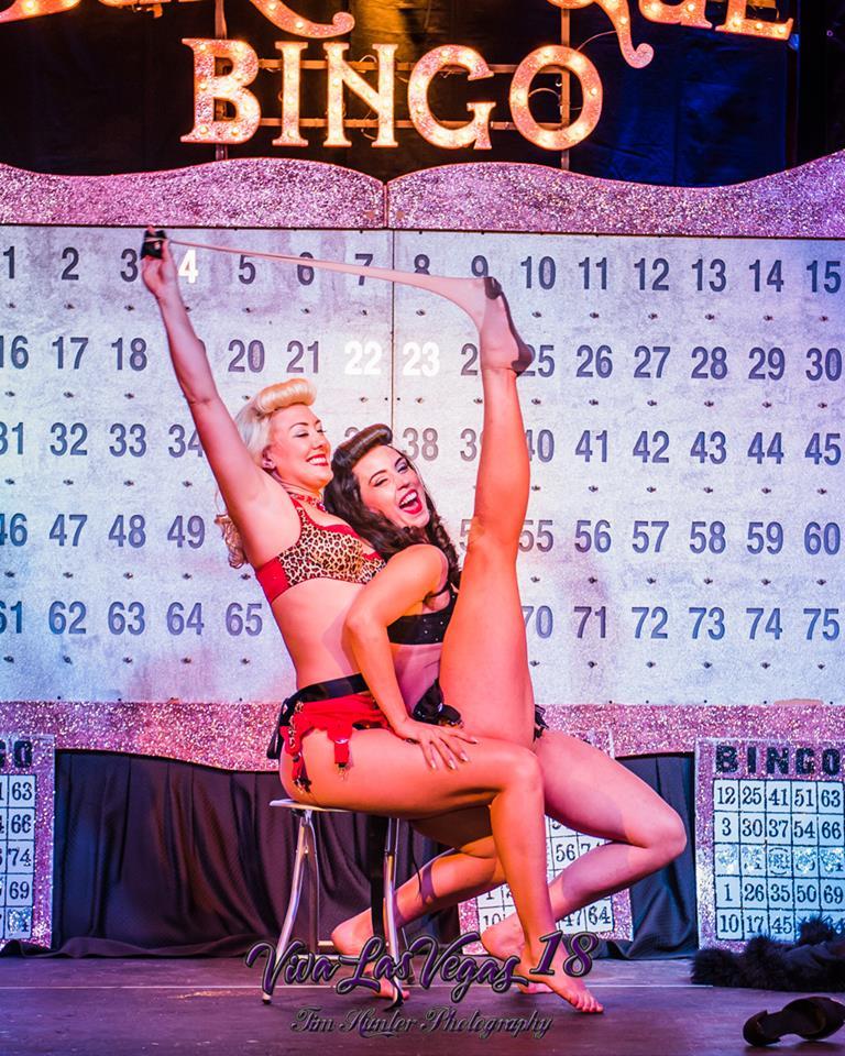 Missy Lisa and Ginger Valentine in Burlesque Bingo at Viva Las Vegas 2015.  ©Tim Hunter