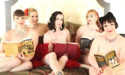 Miss Glory Pearl with Michelle L'amour and fellow Naked Girls Reading cast at the Burlesque Hall of Fame Weekend 2015. ©Don Spiro