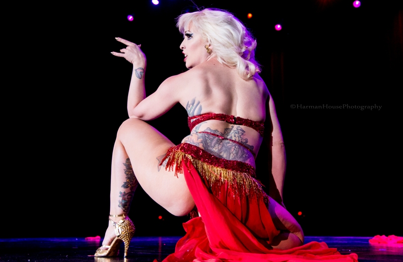 Peekaboo Pointe at the Burlesque Hall of Fame Weekend Tournament of Tease in The Orleans Showroom, Las Vegas. ©Chris Harman/Harman House Photography for 21st Century Burlesque Magazine. Not to be used without permission.