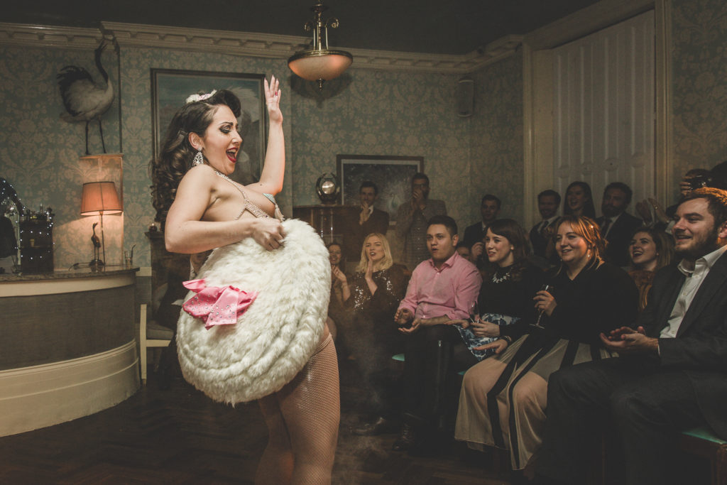 Jolie Papillon at Gin House Burlesque. Photo by Chris Baker