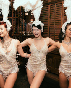 Missy Fatale, Betsy Rose and Jolie Papillon at Gin House Burlesque. Photo by Chris Baker