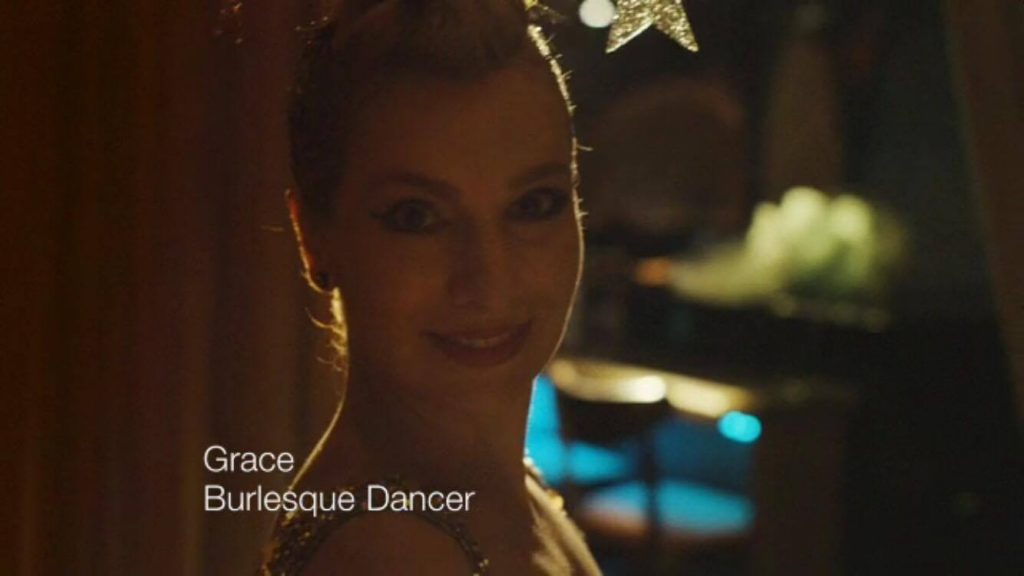 Burlesque dancer Grace Gotham in the new Dove ad campaign, captioned and celebrated as a burlesque performer.