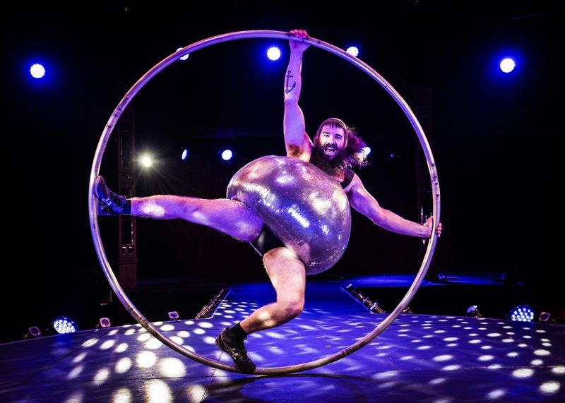 Antoine Carabinier Lepine with Cirque Alfonse in BARBU at the London Wonderground Spiegeltent, by David Jensen