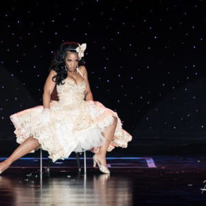 Poison Ivory competes for Miss Exotic World, Reigning Queen of Burlesque at the Burlesque Hall of Fame Weekend 2016. Copyright: John-Paul Bichard