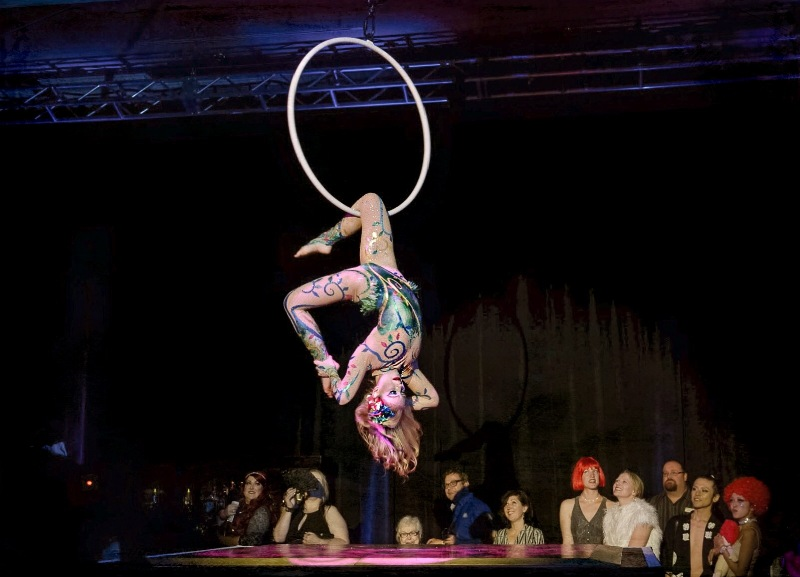 Aerialist Jo Foley preforming her hoop act in the enchanted garden at the Sublime Boudoir Burlesque Hall of Fame Weekend 2016 Afterparty.