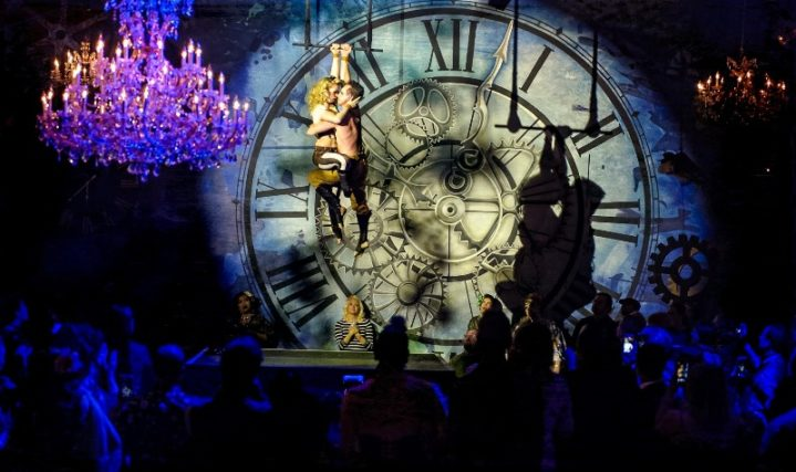 Aerialist Jo Foley and Graeme Clint performing at the Sublime Boudoir Burlesque Hall of Fame Weekend 2016 Afterparty.