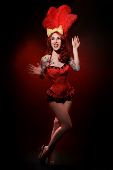 Scarlett Daggers appearing at the Sheffield Burlesque and Cabaret Extravaganza, by Cherry Bomb Rock Photography