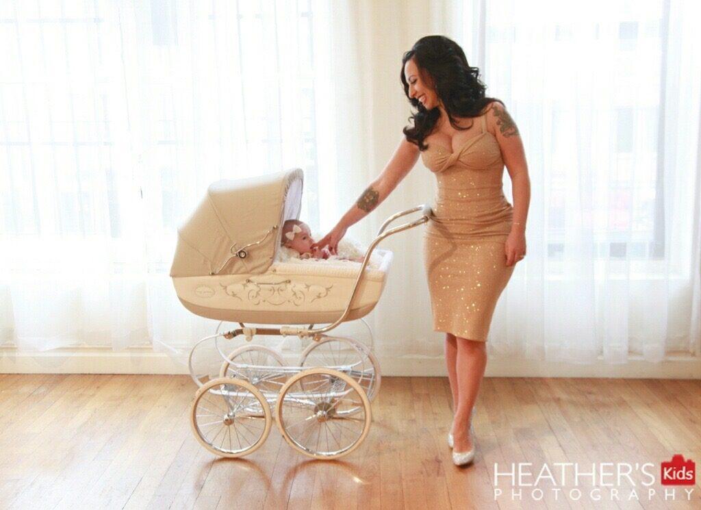 Angie Pontani with newborn daughter Sistilia Josephine. (Copyright Heather's Kids Photography)